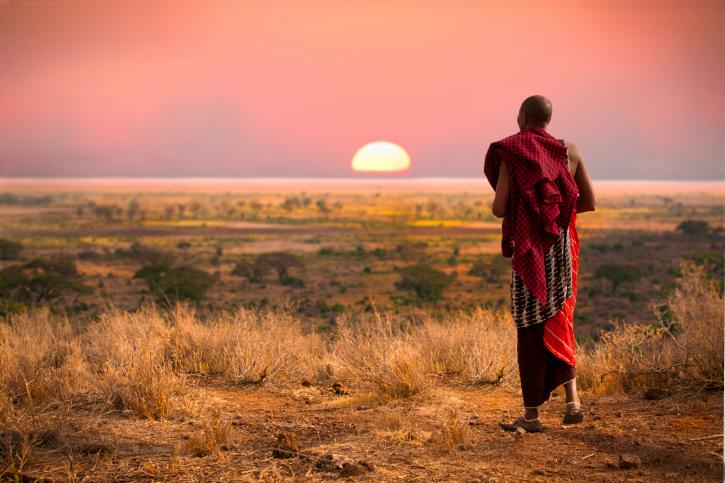 Masai in Kenia, Sonnenuntergang