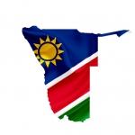 Flagge von Namibia in den Umrissen von Namibia