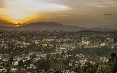 Aethiopien Reise -Aethiopien Rundreise -Tansania Safari -Sonnenuntergang über Stadt - Addis Abeba - Aethiopien